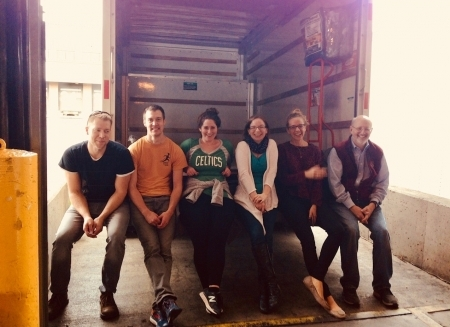 Photo: Some of the Harvard team after delivering the U-haul full of supplies to JetBlue