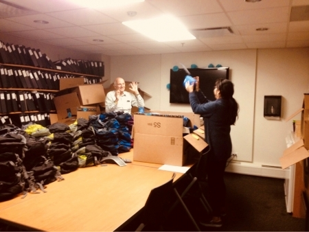 Photo: Staff assembling backpacks at Lurie Children's Hospital of Chicago