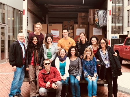 Photo: Staff at Harvard about to depart for Boston Logan Airport with supply kits
