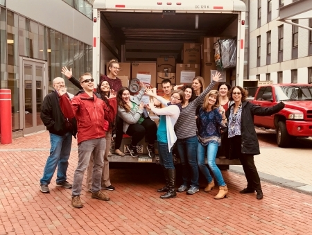 Photo: Harvard staff thrilled that the U-haul is packed and ready to go!
