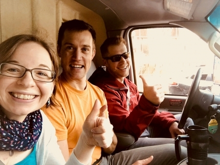 Photo: Claire, Erik, and Brad in the U-haul to the airport